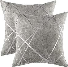 "Desirable Life Luxury Chenille Throw Pillow Case Cover Geometric Pattern Pillowcase Sofa Waist Cushion Cover Home Décor Festive Gift, 18""x18"" (Grey,2)"