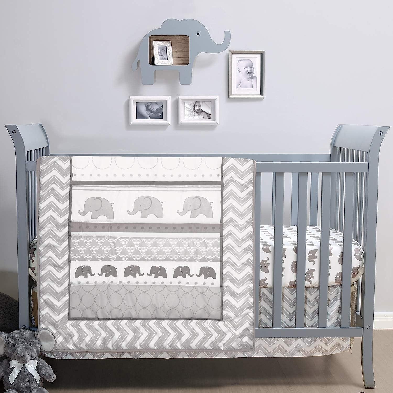 The Max 51% OFF Peanutshell Soldering Elephant Walk Crib Set Unisex Piece Bedding 3