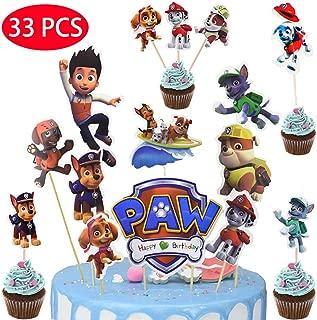 33PCS Dog Patrol Cake Topper Decorative Supplies,9pcs DIY Dog Patrol cake topper 24pcs cupcake topper Birthday Party decoration