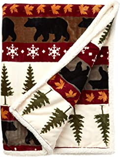 Carstens Soft Sherpa Plush Throw Blanket, Tall Pine Collection