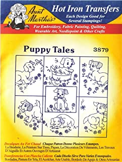 Puppy Tales Aunt Martha's Hot Iron Embroidery Transfer