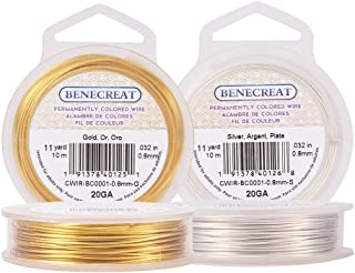 BENECREAT 2 Rolls 20-Gauge Tarnish Resistant Silver/Gold Coil Wire, 66-Feet/22-Yard in Total