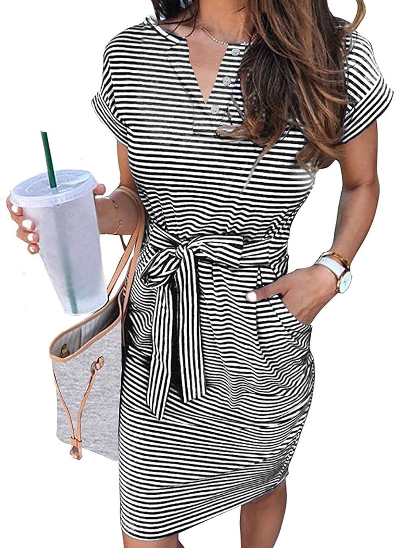 ZESICA Women's Summer Short Sleeve V Neck Button Down Tie Waist Casual Bodycon T Shirt Dress with Pockets