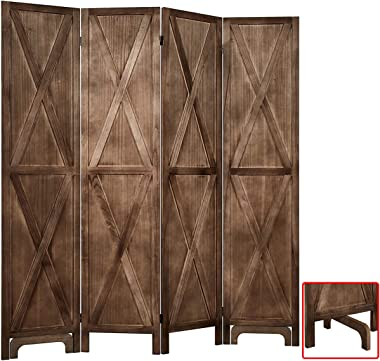 """RHF 5.6 Ft.Tall Room Divider with Stand,16"""" Each Panel,Rustic X Folding Privacy Screens,Heavy Duty Partition Wall Dividers, R"""