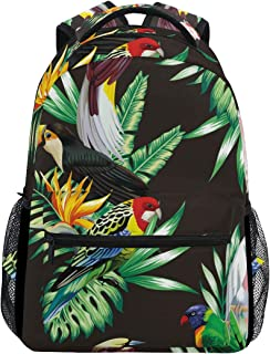 マキク(MAKIKU) リュックサック 大容量 軽量 レディース リュック 高校生 A4 中学生 小学生 通学 鳥柄 リーフ 熱帯風