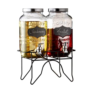 Style Setter 210838-GB Beverage Cold Drink Dispenser w/ 0.8-Gallon Each Capacity Glass Jug, Leak-Proof Acrylic Spigot in Gift Box for Parties, 12x6x16, Clear