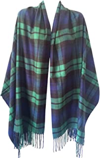 Women Oversized Scottish Clan Tartan Plaid Cashmere Feel Shawl Wrap Winter Scarf