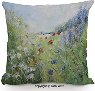 FashSam Decorative Throw Pillow Cover Summer Terrace Gate with Colorful Flowers in a Garden House in Greece Image for Pillow Cover for Living Room(24