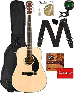 Fender CD-60S Solid Top Dreadnought Acoustic Guitar - Natural Bundle with Gig Bag, Tuner, Strap, Strings, Picks, Fender Pl...