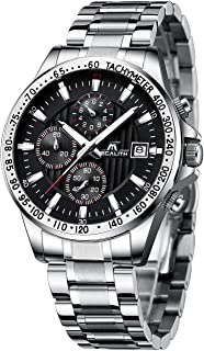 Mens Watches Men Military Black Chronograph Designer Waterproof Luminous Stainless Steel Wrist Watch Sports Dress Business Date Analogue Watches for Man