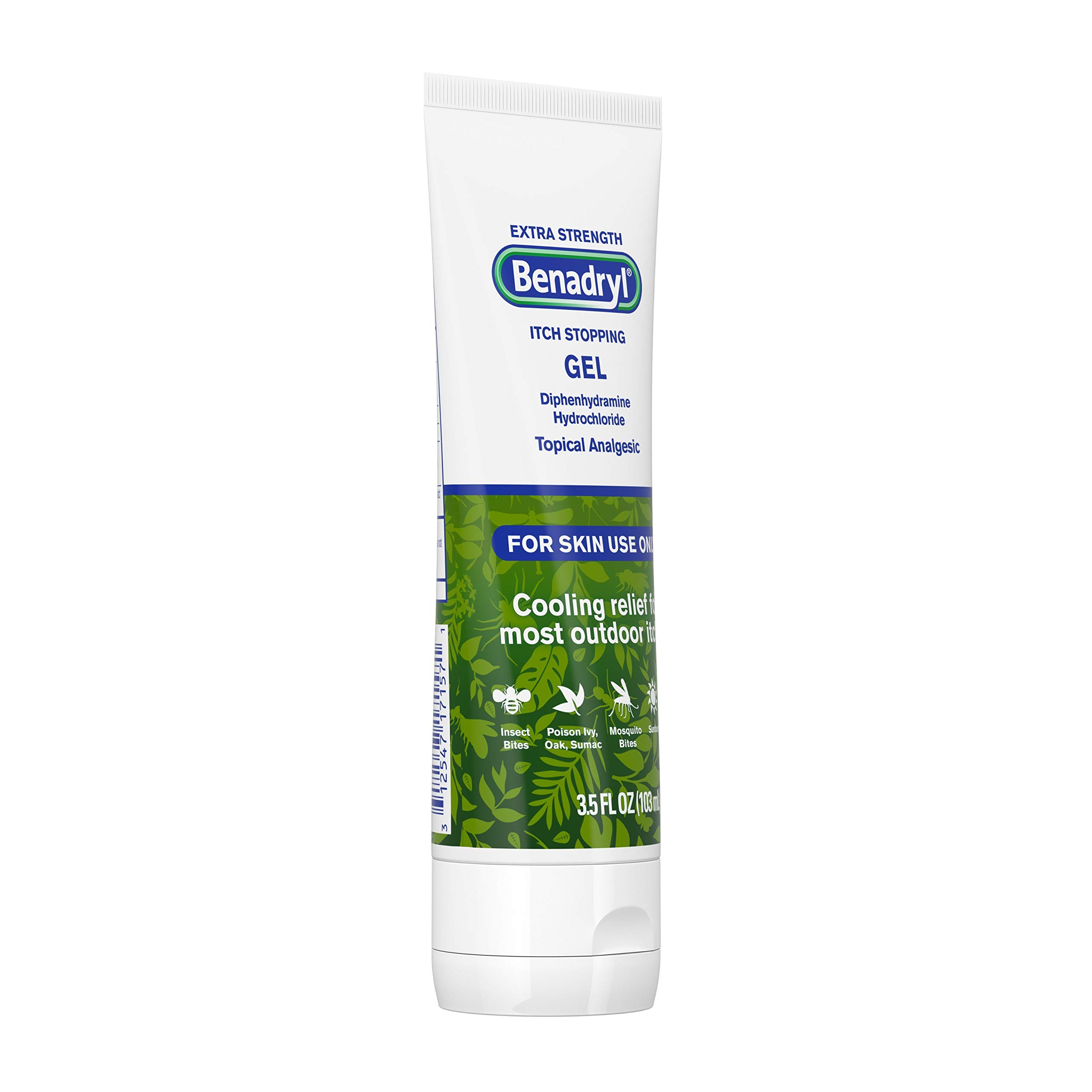 Benadryl Extra Strength Anti-Itch Gel, 2 Percentage Diphenhydramine HCI Topical Analgesic & Histamine Blocker for Relief of Outdoor Itches Associated with Poison Ivy, Insect Bites & More, 3.5 fl. oz