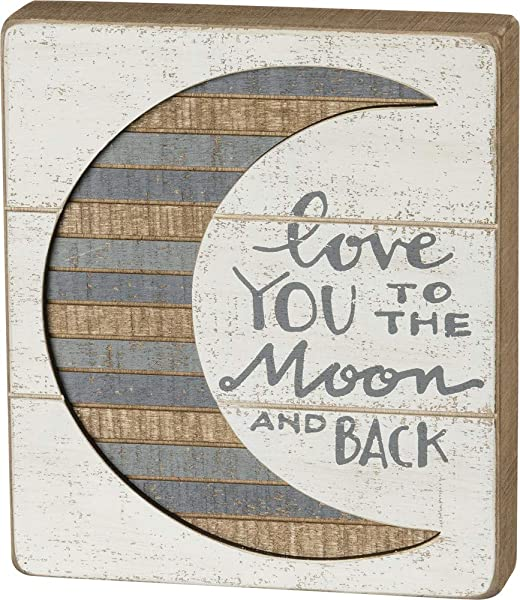 Primitives By Kathy Hand Lettered Slat Box Sign 7 X 8 To The Moon And Back