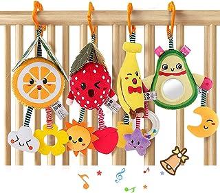 TUMAMA Baby Toys for 3 6 9 12 Months,Hanging Fruit Rattles Avocado,Banana,Orange and Strawberry,Stroller Mobile Toys,Plush...