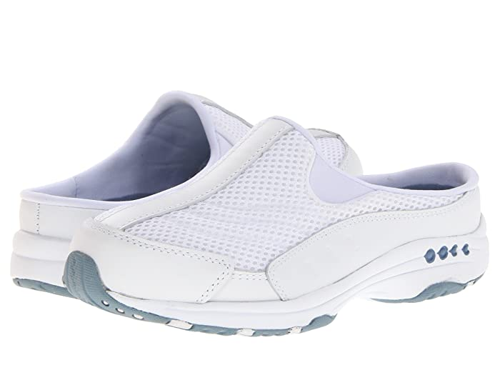 Easy Spirit  Traveltime (White Leather/Light Blue) Womens Clog Shoes
