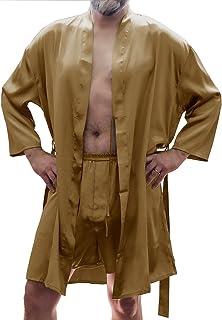 ef1788500e Men s Silky Satin Classic Short Kimono Robe and Boxer Short Set  30798025