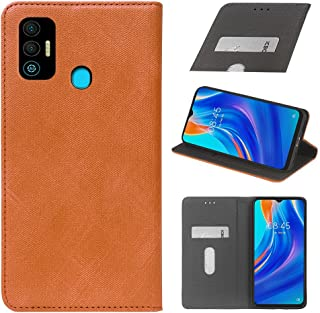 YLYT Business Shockproof - Brown Flip Leather Retro Cover With Stand Wallet Case For Tecno Spark 7T 6.52 inch With Card Slots