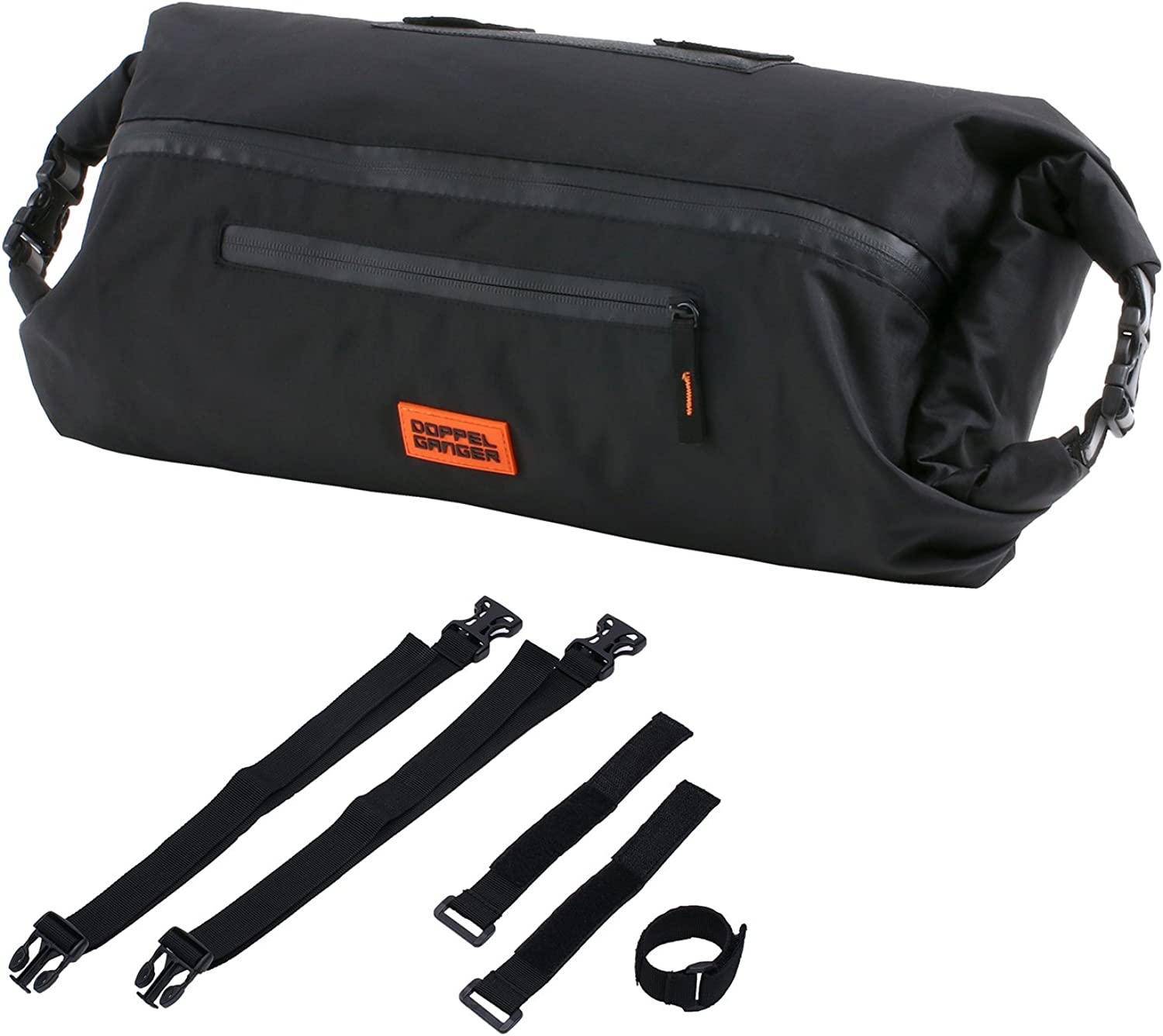 DOPPELGANGER (Dopperugyanga) wrap Handle Bar Bag [2-Room Easy and Organize Also Easy as Wrapping Cloth] Capacity 8L Mounted Belt with Packs Series DBF398-BK