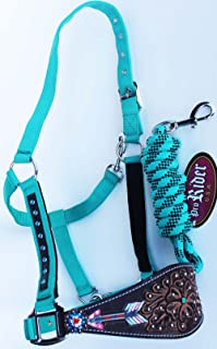 PRORIDER Horse Noseband Tack Bronc Leather Halter Tiedown Lead Rope Turquoise 280M80236