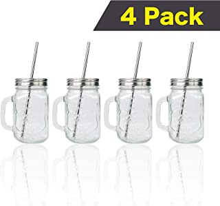 CUPVANNA | MASON JAR MUGS with Stainless Steel Lids and Straws and Straw Cleaning Brush | 16oz Mason Jar Glasses with Handle and Stainless Steel Lids & Straws with Cleaning Brush (16 oz, 4 sets)