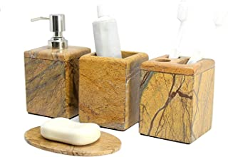 KLEO - Bathroom Accessory Set Made from Natural Stone - Bath Accessories Set of 4 Includes Soap Dispenser, Toothbrush Holder, Tumbler and Soap Dish (Brown)