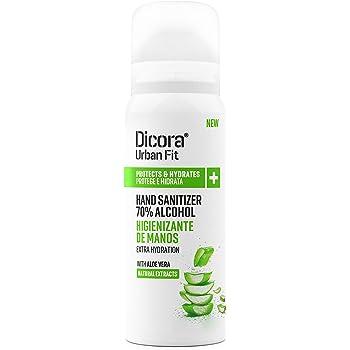 Dicora UrbanFit Spray para manos higienizante perfumado. Limpieza e higiene de manos con secado rápido sin aclarado. (Aloe Vera, 12 botes de 75 ml)