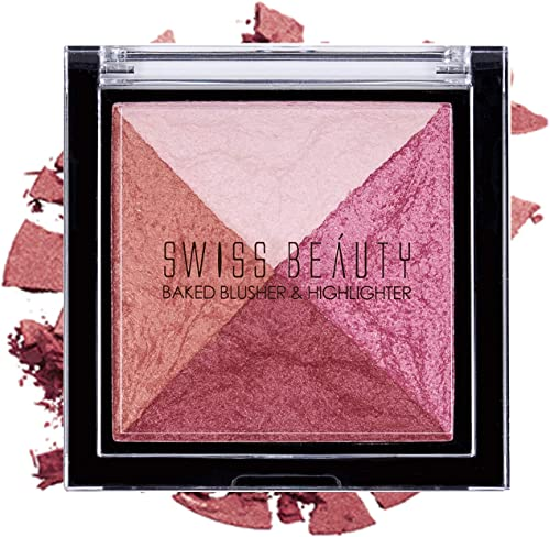 Swiss Beauty Baked Blusher & Highlighter, Face MakeUp, Multicolor-02, 7g
