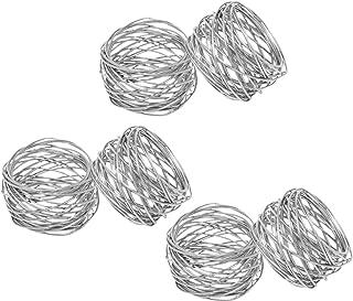 SKAVIJ Metal Mesh Napkin Rings Set for Dining Table Decoration (Dia-2 Inch, Pack of 6, Silver)