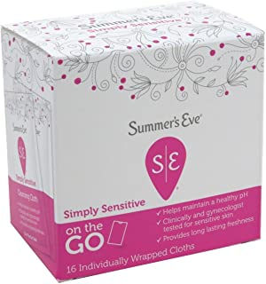 Summer's Eve on-the-go Individually Wrapped Cleansing Cloths   Simply Sensitive, 16-Count per Pack   (3-Packs)