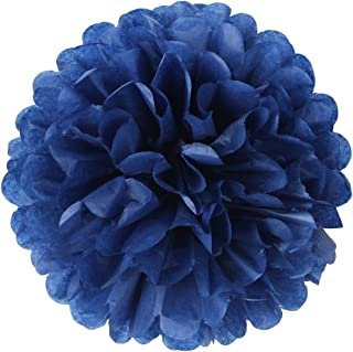 10 Pcs Tissue Paper Pom Poms Flowers for Wedding, Birthday Party, Baby Shower, Nursery Decor, Bachelorette Party Hanging Decor, Easy Joy (10 inch, Navy Blue)