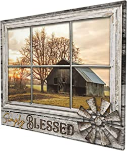 Rustic Old Barn Canvas Wall Art Farmhouse Barn Family Decor Print Paintings Country Farm Pictures Modern Home Artwork Decor For Living Room Kitchen Bathroom Framed Ready To Hang 20x24 Inch