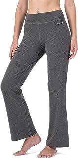 Naviskin Women's Flared Trouser Yoga Bootleg Pants with Back Pockets