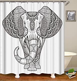 DiShang Fabric Shower Curtain,Elephant Unique White Polyester Waterproof Cloth, Print Decorative Bathroom Curtains Include Hooks Set (173)
