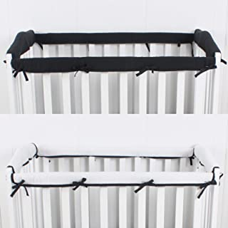 CaSaJa 4-Piece Mini Crib Rail Cover Set for Entire Mini Crib Rails 24in x 38in, Safe Breathable Padded Batting Inner for Baby Teething Guard, Soft Reversible Mini Crib Rail Protector Wraps, Black