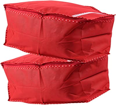 Apratim Cotton Saree Cover (35 cm x 21 cm x 5 cm, Red, Pack of 2)