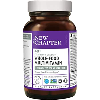New Chapter Men's Multivitamin, Every Man's One Daily 40+, Fermented with Probiotics + Saw Palmetto + B Vitamins + Vitamin D3 + Organic Non-GMO Ingredients - 96 ct