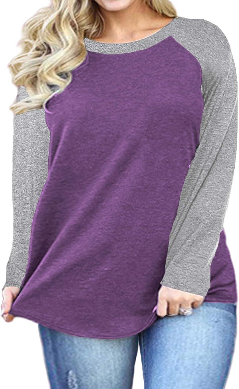 DOLNINE Plus Size Tops for Women Raglan Long Sleeve Tunic Shirts
