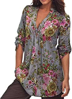 Misaky Women's Miskay Vintage Floral Print V-Neck Tunic Tops Plus Size