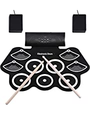 電子ドラム ポータブルドラム 9個ドラムパッド 12デモ曲 7ドラム音色 9リズム ピーカー内蔵 充電式 フットペダル ドラムスティック付き 練習/初心者/入門/子供/おもちゃ 外部オーディオ入力 練習用 日本語取扱説明書付き
