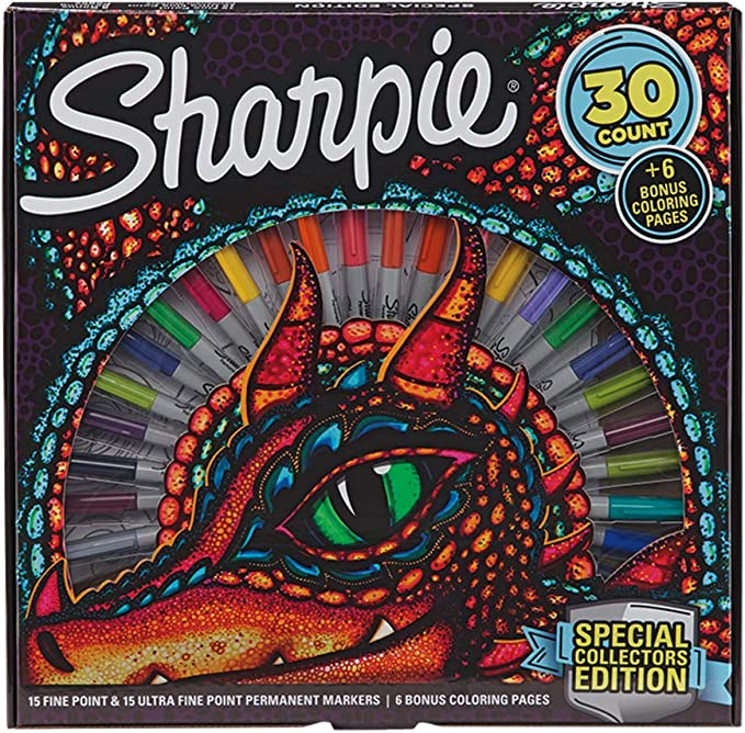 Amazon Com Sharpie Special Collectors Edition Permanent Markers And Dragon Coloring Pages Fine And Ultra Fine Point 30 Count Office Products