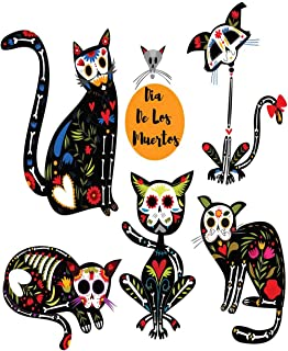 Eaiizer Poster Wall Art Print Colorful Bright with Sugar Skull Black Cats in Mexican for Holiday The Dia De 18x24 Inches Artwork for Home Bedroom Decor