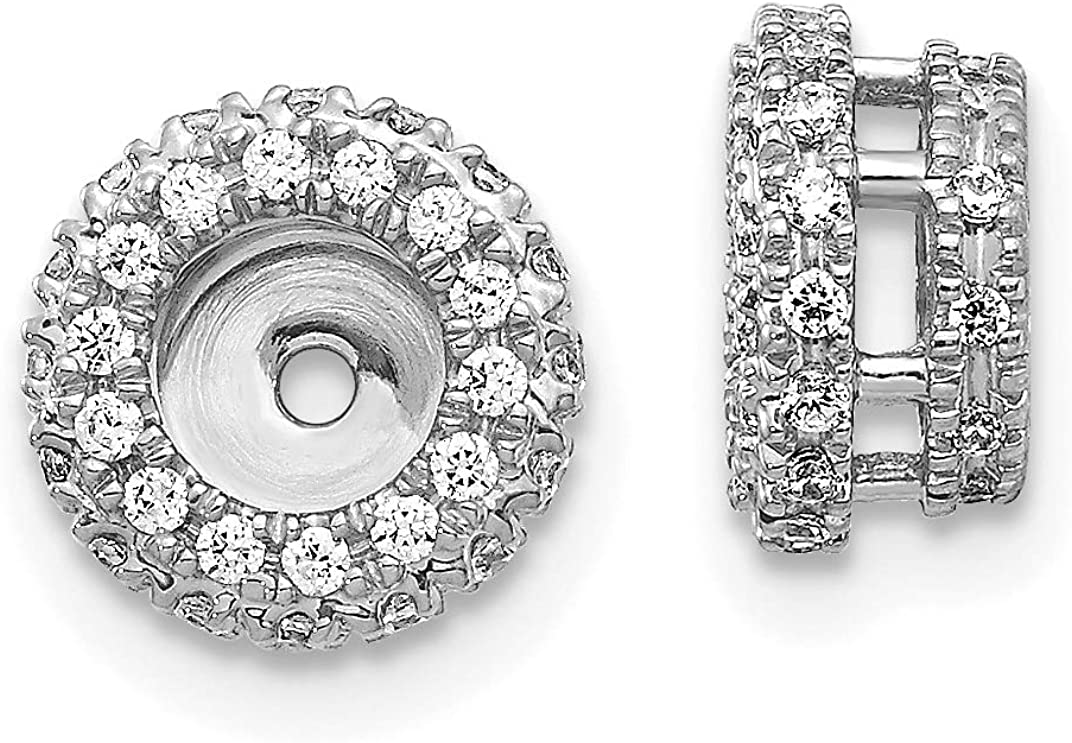 14K White Gold Diamond Round Earring Jackets 4.25 mm Opening for Stud Earrings (0.38Cttw)