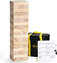 A11N Large Tumble Tower Game | 54 Blocks, Starts at 1.5 Feet Tall and Build to 3 Feet Tall | Wooden Stacking Yard Game wit...