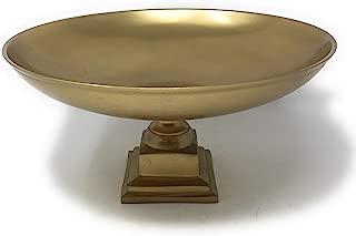 Serene Spaces Living Gold Pedestal Bowl - Add Fruit Treats a Table Centerpiece Rich Gold Color, 10.75