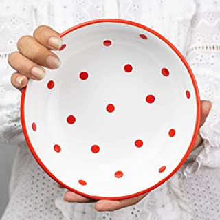 City to Cottage Handmade White and Red Pottery Polka Dot Glazed 7.3inch/18.5cm, 14oz/400ml Salad, Pasta, Fruit, Cereal, Soup Bowl | Unique Ceramic Dinnerware, Housewarming Gift