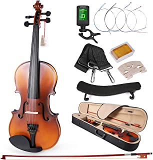 ammoon Mendini Size 1/4 Matte Acoustic Violin Solid Wood with Tuner Shoulder Rest Bow and Case, Satin Antique Finish