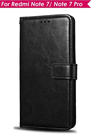 WOW Imagine Leather Finish Case | Inside TPU | Wallet Stand | Shock Proof | Magnetic Closure | 360 Degree Complete Protection Flip Cover for Xiaomi Mi Redmi Note 7 / 7S / Note 7 Pro - Black