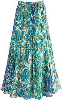 Women's Waves of Blue Broom Maxi Skirt - Elastic Waist - 35