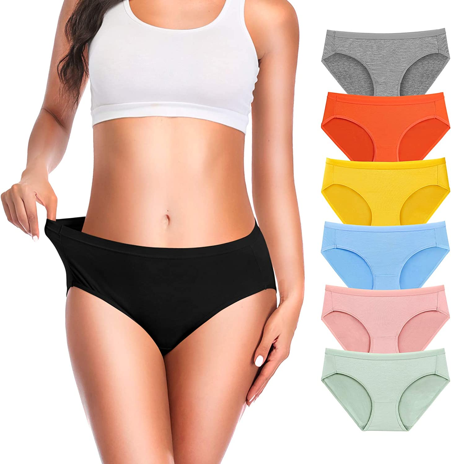 OLIKEME Underwear for Women Mid Waisted Soft Full Coverage Breathable Cotton Ladies Panties Briefs