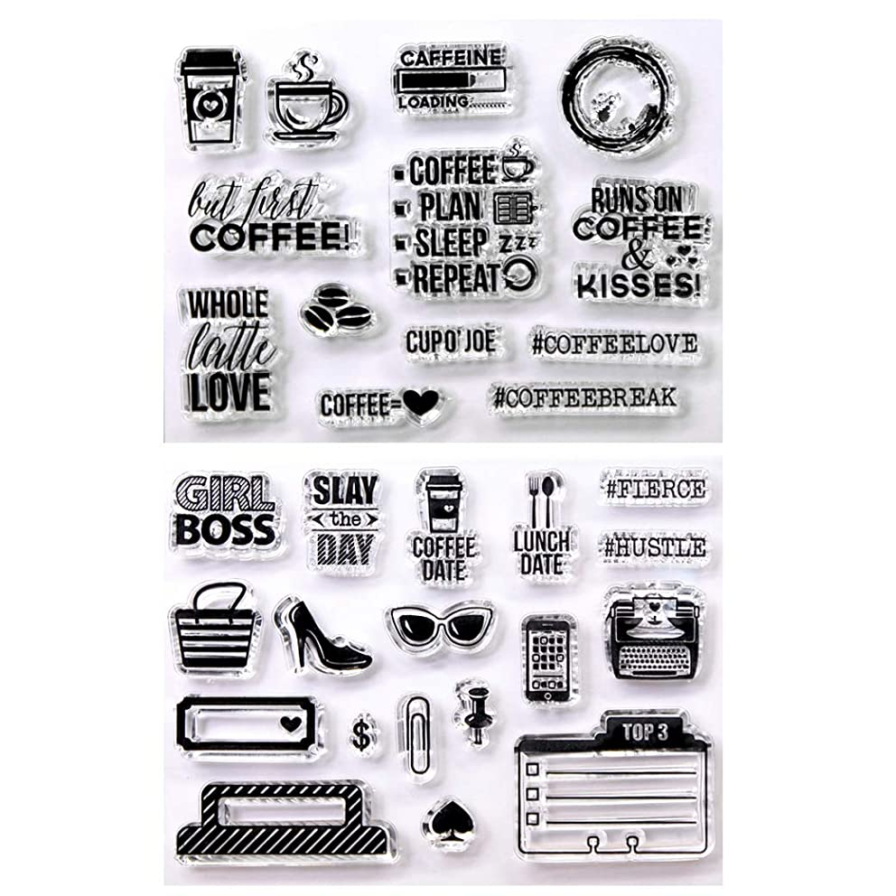 Kwan Crafts 2 Sheets Different Style Coffee Plan Coffee Date Clear Stamps for Card Making Decoration and DIY Scrapbooking