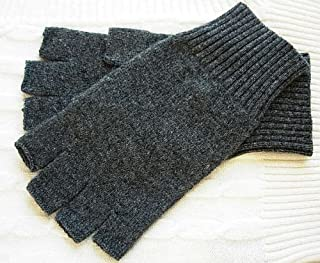 Pure dark charcoal grey gray 100% Cashmere Fingerless Half Finger Gloves